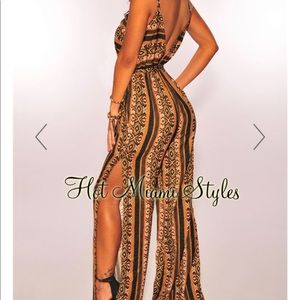 Cocoa Olive Aztec Belted Slit Palazzo Jumpsuit